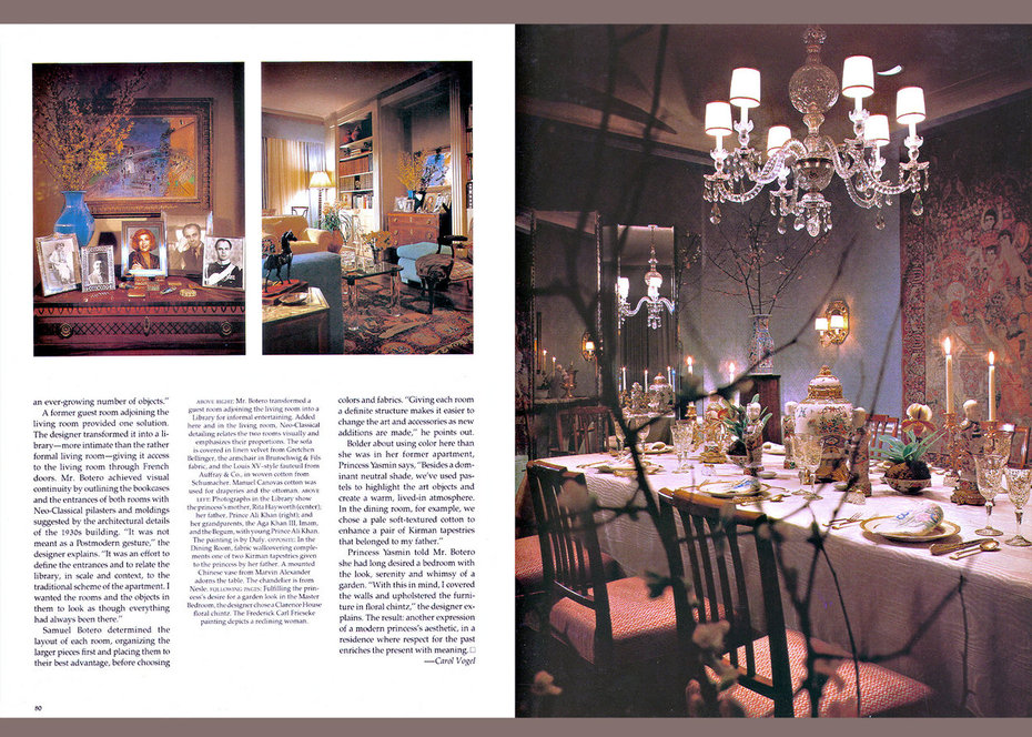 Architecturtal Digest, Yasmin Aga Khan, Dining Room